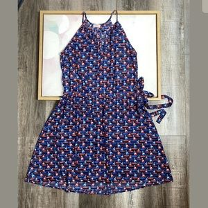 Pixley blue nautical keyhole sleeveless dress